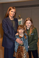 Georgiana Ansruther and daughters Florence Butler and Esme Butler at a private view of recent work by Georgiana Anstruther held at the Sladmore Gallery, 32 Bruton Place, London England. 08 November 2018. <br /> <br /> ***For fees please contact us prior to publication***