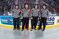 KELOWNA, CANADA - FEBRUARY 23:  Dave McMahon, Chris Crich, Ward Pateman and Cody Wanner stand on the ice at the Kelowna Rockets against the Kamloops Blazers on February 23, 2019 at Prospera Place in Kelowna, British Columbia, Canada.  (Photo by Marissa Baecker/Shoot the Breeze)