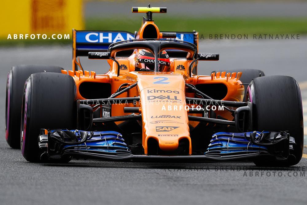 McLaren driver Stoffel Vandoorne of Belgium on Saturday during Qualifying for the 2018 Rolex Formula 1 Australian Grand Prix at Albert Park, Melbourne, Australia, March 24, 2018.  Asanka Brendon Ratnayake