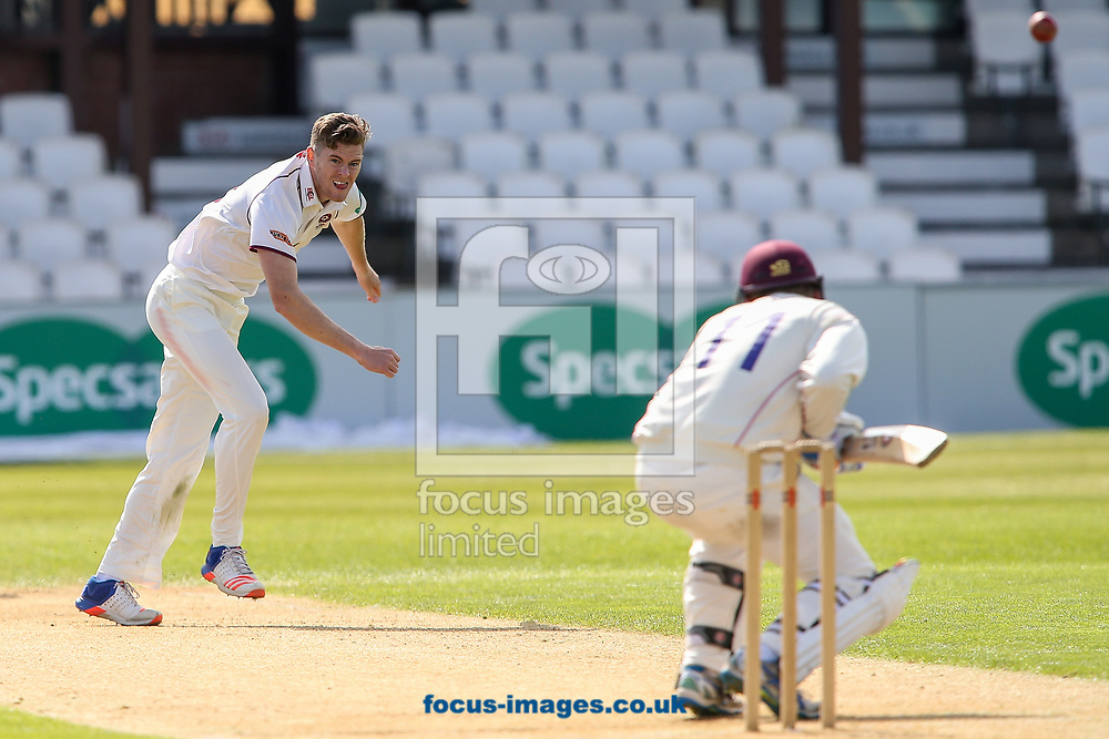 Gareth Wade of Northamptonshire CCC (left) in delivery stride during day two of the Friendly match at the County Ground, Northampton<br /> Picture by Andy Kearns/Focus Images Ltd 0781 864 4264<br /> 03/04/2017