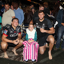 DURBAN, SOUTH AFRICA - MAY 27: Etienne Oosthuizen  with Ruan Botha with the fans during the Super Rugby match between Cell C Sharks and DHL Stormers at Growthpoint Kings Park on May 27, 2017 in Durban, South Africa. (Photo by Steve Haag/Gallo Images)