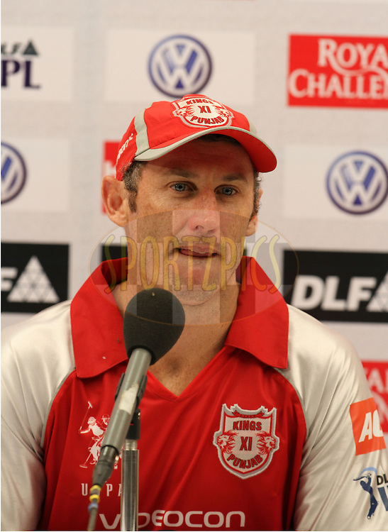 Kings XI Punjab player David Hussey speaks during the presentation of match 28 of the the Indian Premier League ( IPL) 2012  between The Mumbai Indians and the Kings X1 Punjab held at the Wankhede Stadium in Mumbai on the 22nd April 2012..Photo by Sandeep Shetty/IPL/SPORTZPICS.