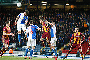 Blackburn Rovers defender Derrick Williams (3) cuts out the cross to Bradford City midfielder Romain Vincelot (6) during the EFL Sky Bet League 1 match between Blackburn Rovers and Bradford City at Ewood Park, Blackburn, England on 29 March 2018. Picture by Craig Galloway.