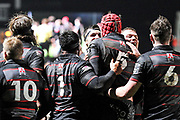 Team mates congratulate 5 Grant Gilchrist for scoring try during the Guinness Pro 14 2017_18 match between Edinburgh Rugby and Southern Kings at Myreside Stadium, Edinburgh, Scotland on 5 January 2018. Photo by Kevin Murray.