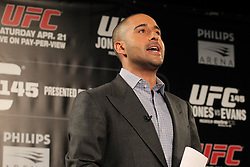Atlanta, GA - April 18, 2012:  The UFC's Jon Anik during the final press conference for UFC 145 at the Park Tavern in Atlanta, Georgia.