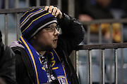 Wimbledon fan looks dejected during Gillingham and AFC Wimbledon at the MEMS Priestfield Stadium, Gillingham, England on 21 February 2017.