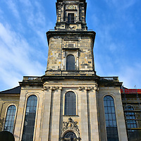Christian's Church in Copenhagen, Denmark <br /> Christians Kirke is named after King Christian V who allowed local German merchants to construct their own parish church.  It was funded by a monarch-approved lottery which is why it earned the nickname Lottery Church.  It was originally called Frederik's German Church when it was built in 1759. The 229 foot tower was added ten years later.  Today its denomination is Protestant.