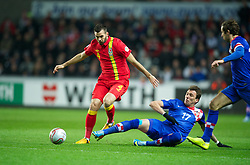 SWANSEA, WALES - Tuesday, March 26, 2013: Wales' Joe Ledley in action against Croatia's Mario Mandzukic during the 2014 FIFA World Cup Brazil Qualifying Group A match at the Liberty Stadium. (Pic by David Rawcliffe/Propaganda)