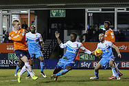Mark Cullen of Luton Town scores his team's first goal against York City to make it 1-2 during the Sky Bet League 2 match at Kenilworth Road, Luton<br /> Picture by David Horn/Focus Images Ltd +44 7545 970036<br /> 10/02/2015