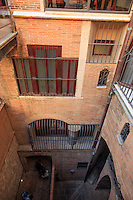 An internal courtyard in the Antoni Gaudi designed Palau Guell in Barcelona, Spain