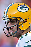 KANSAS CITY, MO - AUGUST 29:  Aaron Rodgers #12 of the Green Bay Packers warms up before the last preseason game against the Kansas City Chiefs at Arrowhead Stadium on August 29, 2013 in Kansas CIty, Missouri.  (Photo by Wesley Hitt/Getty Images) *** Local Caption *** Aaron Rodgers