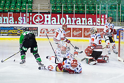 04.01.2015, Hala Tivoli, Ljubljana, SLO, EBEL, HDD Telemach Olimpija vs HC TWK Innsbruck, 35. Runde, in picture Ales Music (HDD Telemach Olimpija, #16) vs Adam Munro (HC TWK Innsbruck, #51) during the Erste Bank Icehockey League 35. Round between HDD Telemach Olimpija and HC TWK Innsbruck at the Hala Tivoli, Ljubljana, Slovenia on 2015/01/04. Photo by Matic Klansek Velej / Sportida