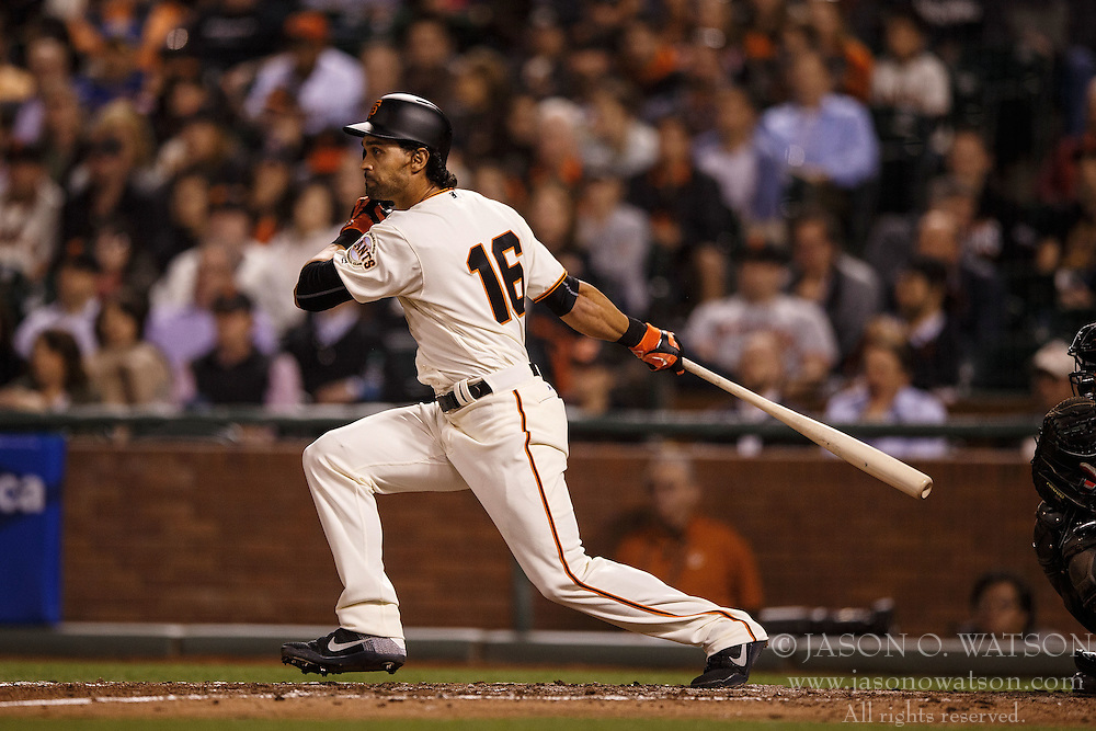 SAN FRANCISCO, CA - APRIL 18: Angel Pagan #16 of the San Francisco Giants at bat against the Arizona Diamondbacks during the fourth inning at AT&T Park on April 18, 2016 in San Francisco, California. The Arizona Diamondbacks defeated the San Francisco Giants 9-7 in 11 innings.  (Photo by Jason O. Watson/Getty Images) *** Local Caption *** Angel Pagan