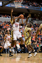 Virginia forward Jamil Tucker (12) shoots against Georgia Tech.  The Virginia Cavaliers men's basketball team fell to the Georgia Tech Yellow Jackets 92-82 in overtime at the John Paul Jones Arena in Charlottesville, VA on January 27, 2008.