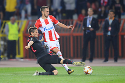Mathieu Debuchy of Arsenal vs Aleksandar Pesic of Crvena Zvezda during football match between NK Crvena Zvezda Beograd and Arsenal FC in Group H of UEFA Europa League 2017/18, on October 19, 2017 in Stadion Rajko Mitic, Belgrade, Serbia. Photo by Nebojsa Parausic / Sportida
