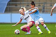 Manchester City Women defender Demi Stokes (3) fouls West Ham United Women forward Alisha Lehmann (7) during the FA Women's Super League match between Manchester City Women and West Ham United Women at the Sport City Academy Stadium, Manchester, United Kingdom on 17 November 2019.