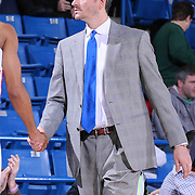 Santa Cruz Warriors Head Coach Casey Hill shaking a player in the second half of a NBA D-league regular season basketball game between the Delaware 87ers and the Santa Cruz Warriors (Golden State Warriors) Tuesday, Jan. 13, 2015 at The Bob Carpenter Sports Convocation Center in Newark, DEL