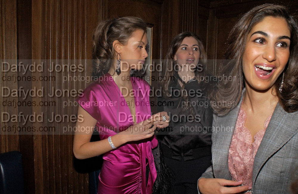 Camilla Al Fayad, Oriana Moufarrige and Jay Saigol, Tatler magazine Little Black Book party, Tramp. Jermyn St. 10 November 2004. ONE TIME USE ONLY - DO NOT ARCHIVE  © Copyright Photograph by Dafydd Jones 66 Stockwell Park Rd. London SW9 0DA Tel 020 7733 0108 www.dafjones.com