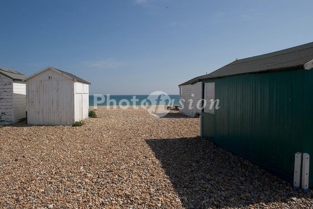 Beach huts Shoreham Sussex UK
