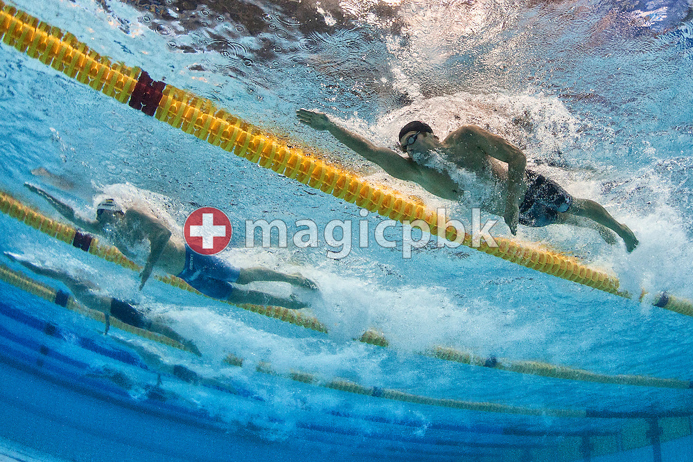 Dominik MEICHTRY (R) of Switzerland and winner Paul BIEDERMANN (C) of Germany compete in the men's 400m Freestyle Final during the 15th European Short Course Swimming Championships in Szczecin, Poland, Thursday, Dec. 8, 2011. (Photo by Patrick B. Kraemer / MAGICPBK)
