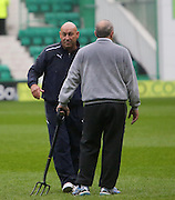 Dundee groundsman Brian Robertson helped get the game on - Hibernian v Dundee - Clydesdale Bank Scottish Premier League at Easter Road.. - © David Young - www.davidyoungphoto.co.uk - email: davidyoungphoto@gmail.com