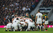 Twickenham, United Kingdom.  Springboks, Skipper anf Hooker looes at referee, Jerome GARCES, before packing down for the &quot;put in&quot;,  Old Mutual Wealth Series match: England vs South Africa, at the RFU Stadium, Twickenham, England, Saturday, 12.11.2016<br /> <br /> [Mandatory Credit; Peter Spurrier/Intersport-images]