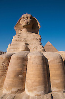 View of the Sphinx from the base of the feet.  In Giza, Egypt.