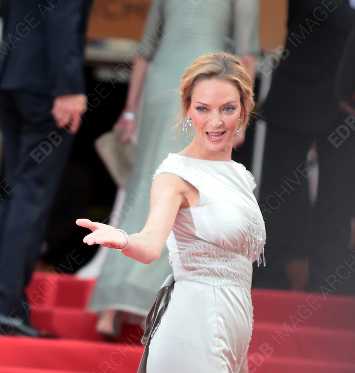 14.MAY.2011. CANNES<br /> <br /> UMA THURMAN AT THE PREMIERE OF THE &quot;PIRATES OF CARIBBEAN : ON STRANGER TIDES&quot; - 64 TH INTERNATIONAL CANNES FILM FESTIVAL 2011 IN CANNES, FRANCE<br /> <br /> BYLINE: EDBIMAGEARCHIVE.COM<br /> <br /> *THIS IMAGE IS STRICTLY FOR UK NEWSPAPERS AND MAGAZINES ONLY*<br /> *FOR WORLD WIDE SALES AND WEB USE PLEASE CONTACT EDBIMAGEARCHIVE - 0208 954 5968*