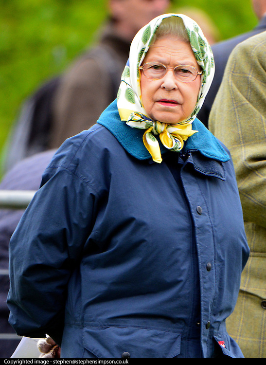 © Licensed to London News Pictures. 11/05/2013. Windsor, UK.HRH Queen Elizabeth II. The Royal Windsor Horse Show, set in the grounds of Windsor Castle. Established in 1943, this year will see the Show celebrate its 70th anniversary. Photo credit : Stephen Simpson/LNP