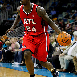 January 29, 2012; New Orleans, LA, USA; Atlanta Hawks small forward Marvin Williams (24) against the New Orleans Hornets during a game at the New Orleans Arena. The Hawks defeated the Hornets 94-72.  Mandatory Credit: Derick E. Hingle-US PRESSWIRE
