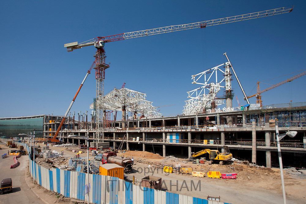 India's growing economy: construction site for new terminal and shopping complex at Chattrapati Shivaji International Airport Mumbai, India