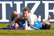 Hannah Gallagher of England Women scores a try during the Women's RBS 6 Nations match at Twickenham Stoop , London<br /> Picture by David Horn/Focus Images Ltd +44 7545 970036<br /> 15/02/2015
