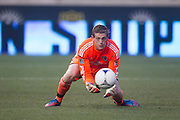 Zac MacMath of the Philadelphia Union makes a save during a match between Aston Villa FC and Philadelphia Union at PPL Park in Chester, Pennsylvania, USA on Wednesday July 18, 2012. (photo - Mat Boyle)