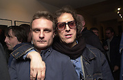 Rankin and Mick Rock. Mick Rock exhibition opening at the Proud Gallery and after party at the Mayfair Club. London. 4 April 2001. © Copyright Photograph by Dafydd Jones 66 Stockwell Park Rd. London SW9 0DA Tel 020 7733 0108 www.dafjones.com