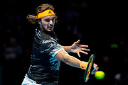Stefanos Tsitsipas of Greece in action during the Nitto ATP Finals at the O2 Arena, London, United Kingdom on 13 November 2019.