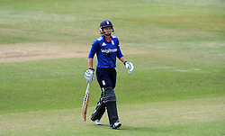 Dejection for England's Amy Jones after being dismissed. - Photo mandatory by-line: Harry Trump/JMP - Mobile: 07966 386802 - 21/07/15 - SPORT - CRICKET - Women's Ashes - Royal London ODI - England Women v Australia Women - The County Ground, Taunton, England.