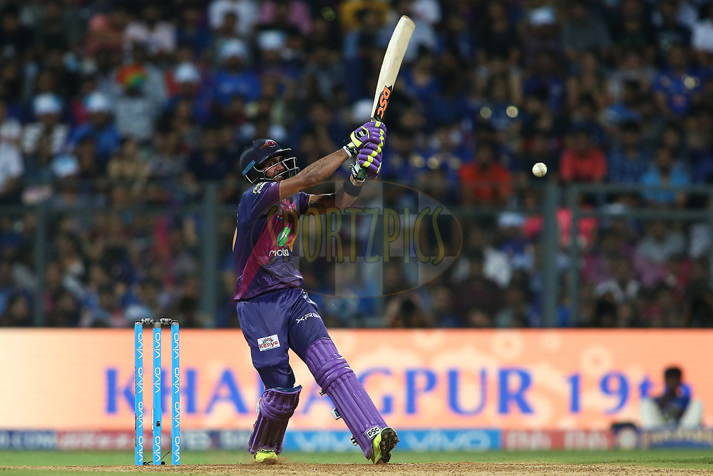 Manoj Tiwary of Rising Pune Supergiant pulls a delivery to the boundary during The Qualifier 1 match (match 57) of the Vivo 2017 Indian Premier League between the Mumbai Indians and the Rising Pune Supergiant held at the Wankhede Stadium in Mumbai, India on the 16th May 2017<br /> <br /> Photo by Shaun Roy - Sportzpics - IPL