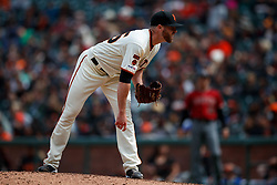 SAN FRANCISCO, CA - MAY 26: Sam Coonrod #65 of the San Francisco Giants stands on the pitchers mound against the Arizona Diamondbacks in his Major League debut during the eighth inning at Oracle Park on May 26, 2019 in San Francisco, California. The Arizona Diamondbacks defeated the San Francisco Giants 6-2. (Photo by Jason O. Watson/Getty Images) *** Local Caption *** Sam Coonrod