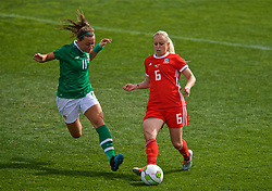 MARBELLA, SPAIN - Tuesday, March 5, 2019: Wales' Nadia Lawrence (R) and Republic of Ireland's captain Katie McCabe during an international friendly match between Wales and Republic of Ireland at the Estadio Municipal de Marbella. (Pic by David Rawcliffe/Propaganda)