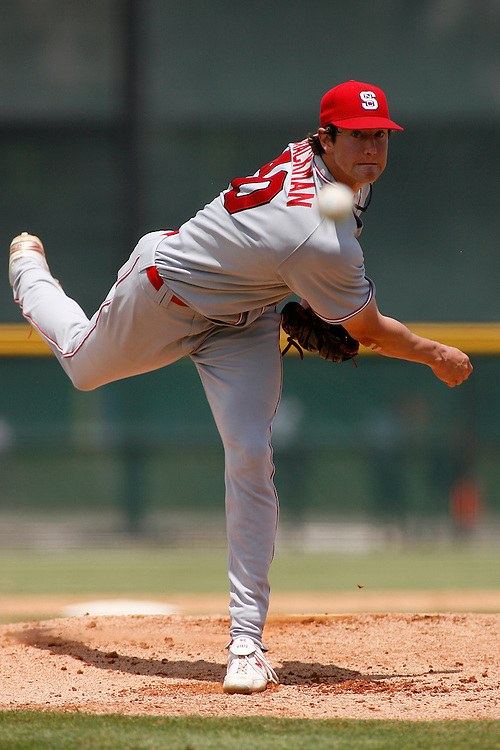 North Carolina State pitcher Andrew Brackman in action during the Miami Hurricanes 5-1 victory over the Wolfpack on April 14, 2007 at Mark Light Field in Coral Gables, Florida.