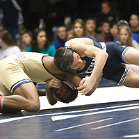 February 23, 2014; State College, PA, USA; Penn State's Nico Megaludis works around Clarion's Hunter Jones in their 125-pound match at Rec Hall. Megaludis scored a 21-5 technical fall win and Penn State defeated Clarion 43-3.