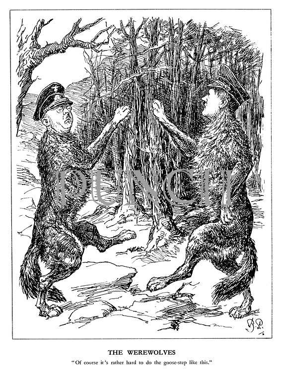 "The Werewolves. ""Of course it's rather hard to do the goose-step like this."" (Himmler and Hitler practice their marching in the forest)"