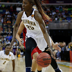 April 7, 2013; New Orleans, LA, USA; California Golden Bears forward Gennifer Brandon (25) dribbles against the Louisville Cardinals during the first half in the semifinals during the 2013 NCAA womens Final Four at the New Orleans Arena. Mandatory Credit: Derick E. Hingle-USA TODAY Sports