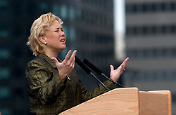 01 January, 2006.  New Orleans, Louisiana. Post Katrina aftermath.<br /> New Year's Day in New Orleans, Louisiana. Louisiana Rebirth interfaith service at the Superdome rings out the old disastrous 2005 and rings in what politicians and locals hope will be a successful 2006. Politician US Senator Mary Landrieu speaks to the assembled crowd.<br /> Photo; ©Charlie Varley/varleypix.com