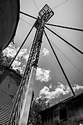 Abstract view of the feed elevator at an abandoned milling building in Midland, NC