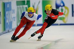 14-01-2011 SHORTTRACK: ISU EUROPEAN SHORTTRACK SPEEDSKATING CHAMPIONSHIPS: HEERENVEEN<br /> Germany Paul Herrmann and France on 5000m relay<br /> ©2011-WWW.FOTOHOOGENDOORN.NL