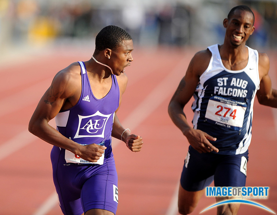 May 24, 2008; Walnut, CA, USA; Raymond Radway of Abilene Christian, left, celebrates after holding off Josh Scott of St. Augustine's to win the 400m, 46.35 to 46.56, in the NCAA Division II Track & Field Championships at Mt. San Antonio College's Hilmer Lodge Stadium.