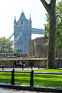 A view of the Tower Bridge from the Tower of London in London, England.