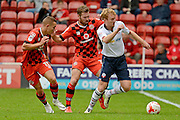 Walsall defender Scott Laird (3) and Walsall midfielder Kieron Morris (11) hold up Bolton Wanderers midfielder Chris Taylor (7) 1-0 during the EFL Sky Bet League 1 match between Walsall and Bolton Wanderers at the Banks's Stadium, Walsall, England on 17 September 2016. Photo by Alan Franklin.