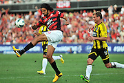 10.03.2013 Sydney, Australia. Wanderers defender Nikolai Topor-Stanley in action during the Hyundai A League game between Western Sydney Wanderers and Wellington Phoenix FC from the Parramatta Stadium. The Wanderers won 2-1.